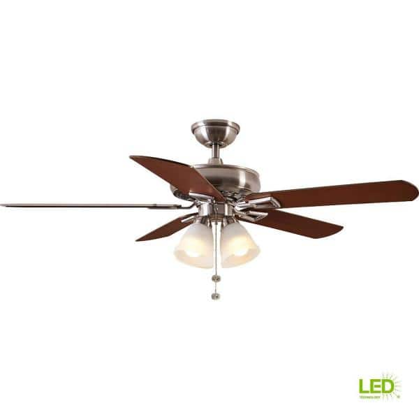 Hampton Bay Lyndhurst 52 In Led Brushed Nickel Ceiling Fan With Light Kit 51091 The Home Depot