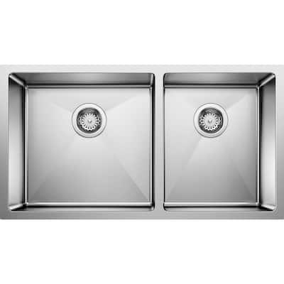 Quatrus Undermount Stainless Steel 33 in. x 18 in. 55/45 Double Bowl Kitchen Sink in Satin