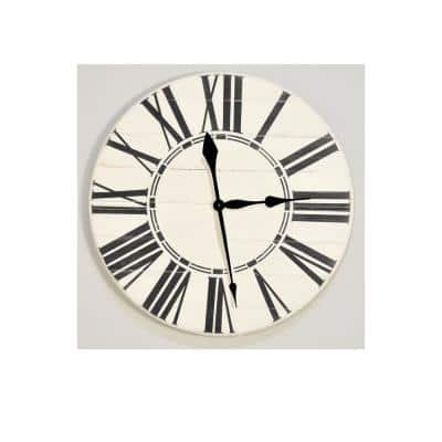 36 in. Oversized Antique White Farmhouse Wall Clock