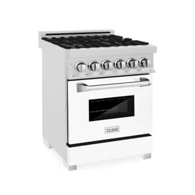 ZLINE 24 in. 2.8 cu. ft. Dual Fuel Range with Gas Stove and Electric Oven in DuraSnow Stainless Steel & White Matte Door