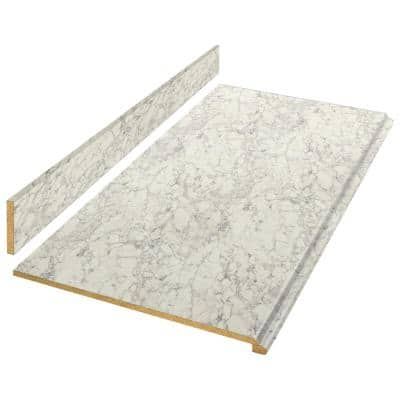 6 ft. White Laminate Countertop Kit with Full Wrap Ogee Edge in Marmo Bianco Marble