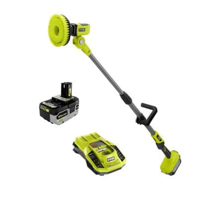 ONE+ 18V Cordless Telescoping Power Scrubber with HIGH PERFORMANCE 4.0 Ah Battery and Charger Kit