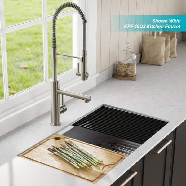 kore workstation 33 in stainless steel undermount double bowl kitchen sink w integrated ledge and accessories