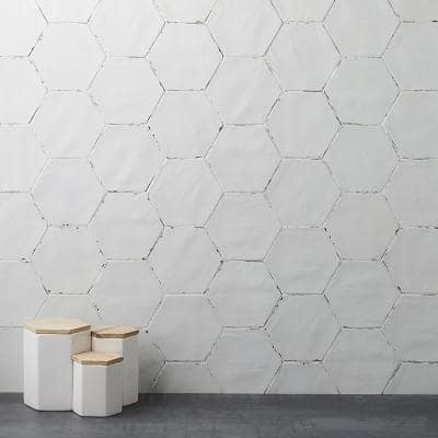 Alexandria 5.5 in. x 6 in. White Porcelain Floor and Wall Tile (5.38 sq. ft. / case)
