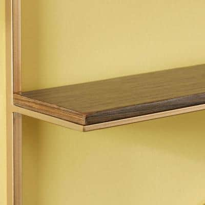 15 in. H x 12 in. W x 4 in. D Wood and Gold Metal Wall-Mount Hexagon Floating Shelf (Set of 2)