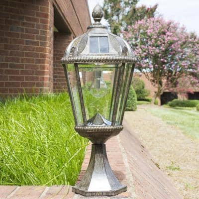 Royal Bulb Series Outdoor Weathered Bronze Integrated LED Solar Powered Post Light on Pier Base