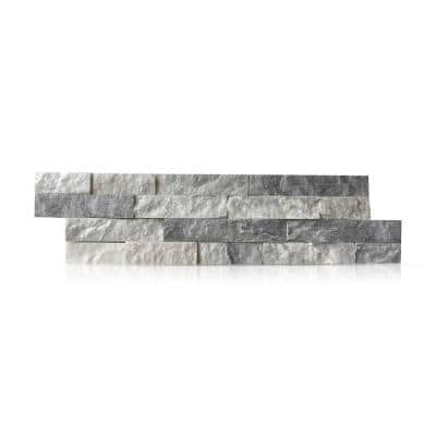 Alaska White 6 x 24 in. Natural Stacked Stone Veneer Panel Siding Exterior/Interior Wall Tile (10-Boxes/64.17 sq. ft.)