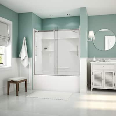 Artesia 56 in. - 59 in. x 59 in. Frameless Sliding Tub Door in Chrome