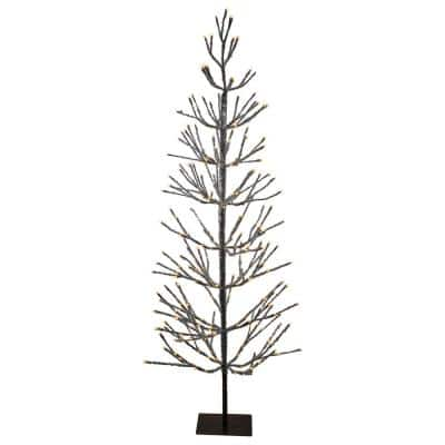 6 ft. Pre-Lit LED Brown Artificial Christmas Tree with Icicle Lights- Clear Lights