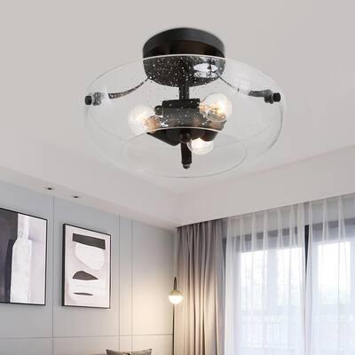 Foyer Semi Flush Mount Lighting Firefly 3-Light Modern Matte Black Flush Mount Ceiling Light with Open Seedy Glass Shade