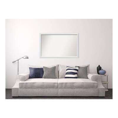 Medium Rectangle White Modern Mirror (33 in. H x 52 in. W)