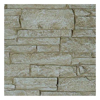SAMPLE - 1-1/4 in. x 9 in. Sandstone Urethane Acadia Ledge Stacked Stone, StoneWall Faux Stone Siding Panel Moulding