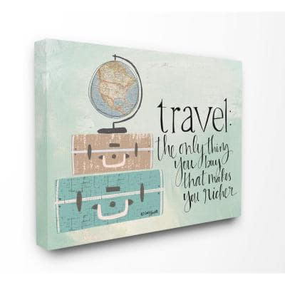 """16 in. x 20 in. """"Aqua Blue Travel Makes You Richer Suitcases and Globe Drawing Canvas Wall Art"""" by Katie Douette"""