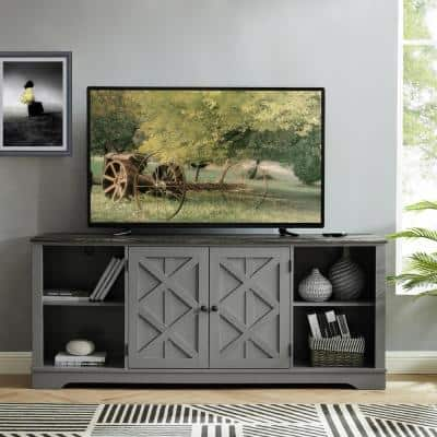 70 in. Gray with Walnut Color Desktop TV Stand for TVs up to 75 in.