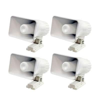 6 in. 50-Watt Indoor/Outdoor Waterproof Home PA Horn Speaker (4-Pack)