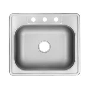 Drop-In Stainless Steel 25 in. 3-Hole Single Bowl Kitchen Sink