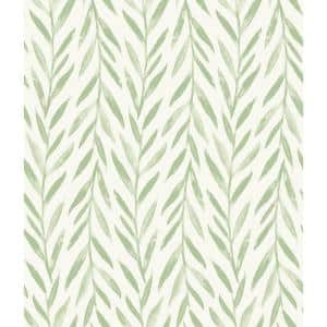 Willow Green Botanical Paper Pre-Pasted Strippable Wallpaper Roll (Covers 56 Sq. Ft.)