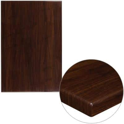 30 in. x 45 in. High-Gloss Walnut Resin Table Top with 2 in. Thick Drop-Lip