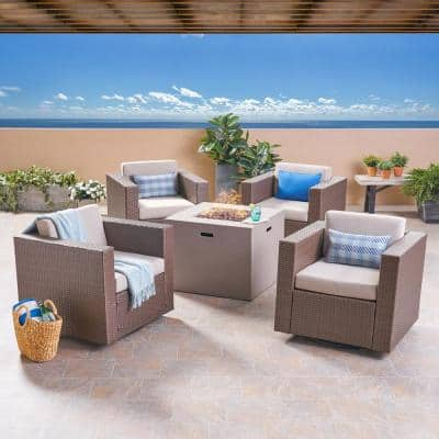 Hudson Brown 5-Piece Wicker Patio Fire Pit Conversation Set with Ceramic Gray Cushion
