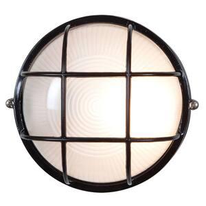 Bel Air Lighting CB-41505-BK 60W Black Round Bulkhead Light Fixture 8 in.