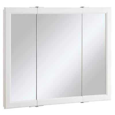 Wyndham 36 in. W x 30 in. H x 4-3/4 in. D Framed Tri-View Surface-Mount Bathroom Medicine Cabinet in White Semi-Gloss