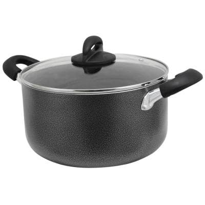 Clairborne 6 qt. Round Aluminum Nonstick Dutch Oven in Charcoal Gray with Glass Lid
