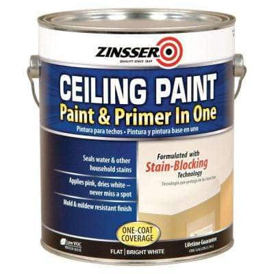 1 gal. Flat Bright White Ceiling Paint and Primer in One (2-Pack)
