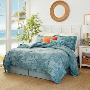 Blue Abalone 4-Piece Blue Botanical Cotton California King Comforter Set