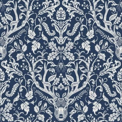 Navy Escape to the Forest Peel and Stick Wallpaper 8-in. x 10-in. Sample Blue Wallpaper Sample