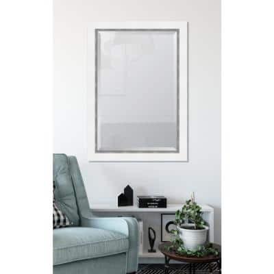 Large Rectangle White Beveled Glass Contemporary Mirror (42 in. H x 30 in. W)