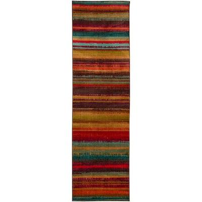 Boho Stripe Multi 2 ft. x 8 ft. Machine Washable Striped Runner Rug