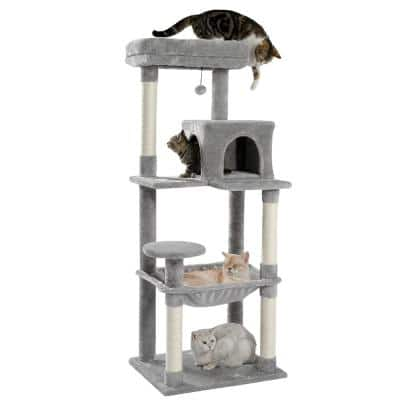 Cat Tree for Indoor Cats Multi-Level Cat Tower with Sisal Covered Scratching Posts, Cozy Condo, Plush Perches Gray