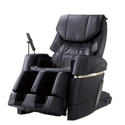 Synca - Black/Modern Synthetic Leather 4D Massage Chair with Touchscreen