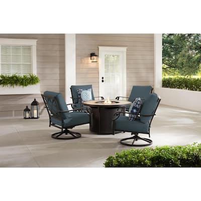 Bowbridge 5-Piece Black Steel Outdoor Patio Fire Pit Seating Set with Sunbrella Denim Blue Cushions