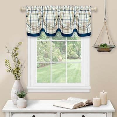 Tattersall 14 in. L Polyester Window Curtain Valance in Navy