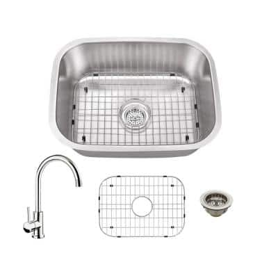 All-In-One Undermount 18-Gauge Stainless Steel 23-1/4 in. 0-Hole Bar Sink with Gooseneck Kitchen Faucet