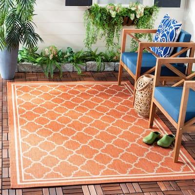 Courtyard Terracotta/Bone 7 ft. x 10 ft. Geometric Indoor/Outdoor Area Rug