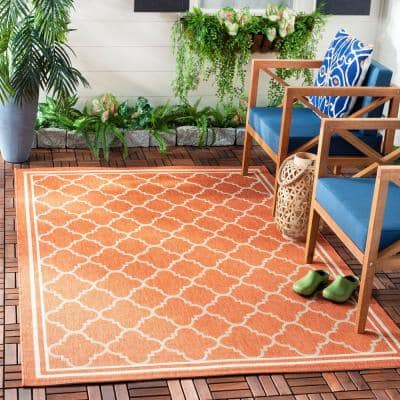 Courtyard Terracotta/Bone 8 ft. x 8 ft. Indoor/Outdoor Square Area Rug