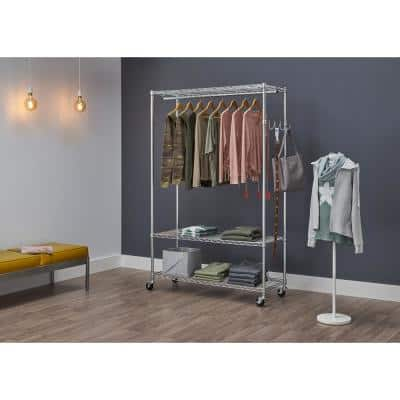 3-Tier EcoStorage Chrome Steel Clothes Rack with Wheels (48 in. W x 75 in. H)