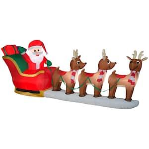 12 ft Pre-Lit LED Giant-Sized Santa's Sleigh Scene Christmas Inflatable