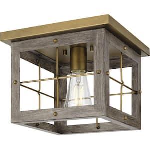 Hedgerow 1-Light Aged Oak Farmhouse Flush Mount Ceiling Light