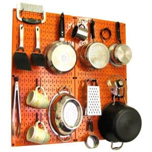 Kitchen Pegboard 32 in. x 32 in. Metal Peg Board Pantry Organizer Kitchen Pot Rack Orange Pegboard and Blue Peg Hooks