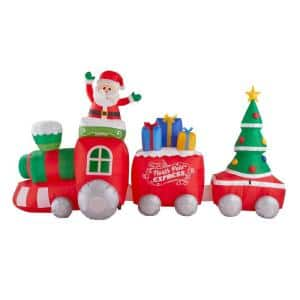 11.5 ft Pre-Lit LED Fuzzy Plush Train Scene Christmas Inflatable
