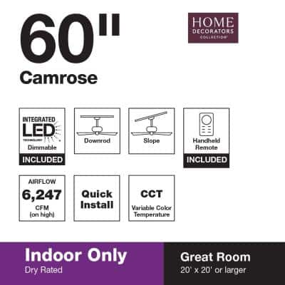 Camrose 60 in. White Color Changing Integrated LED Bronze Ceiling Fan with Light Kit and Remote Control
