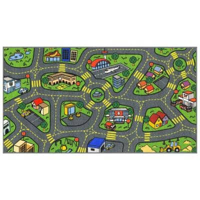 Multi-Color Kids and Children Bedroom and Playroom Retro City Traffic Car Road Educational and Game 2 ft.x5 ft. Area Rug