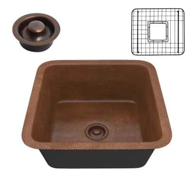 Malta Copper 19 in. 0-Hole Single Bowl Drop-In Kitchen Sink in Hammered Antique Copper