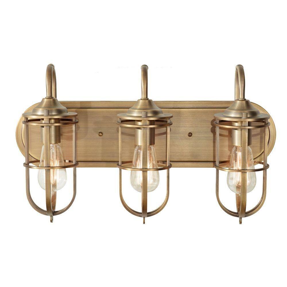 Feiss Urban Renewal 3 Light Dark Antique Brass Vanity Light Vs36003 Dab The Home Depot