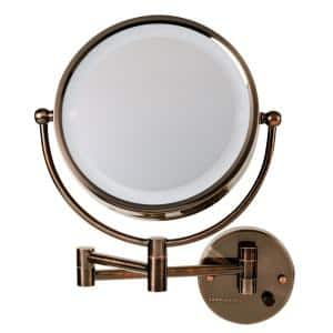 Dual 2 in. W x 14.6 in. H Wall Mounted Bathroom Vanity Mirror LED 360 Framed Mirror in Antique Bronze
