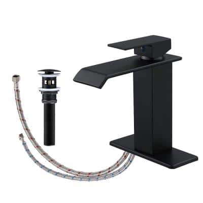 Waterfall Single Hole Single-Handle Bathroom Faucet with Drain Assembly in Matte Black