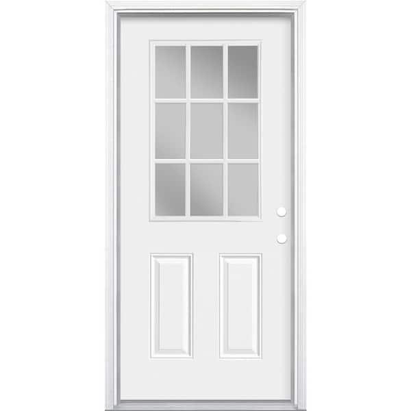 Masonite 36 In X 80 In 9 Lite Left Hand Inswing Primed Steel Prehung Front Exterior Door With Brickmold 46194 The Home Depot
